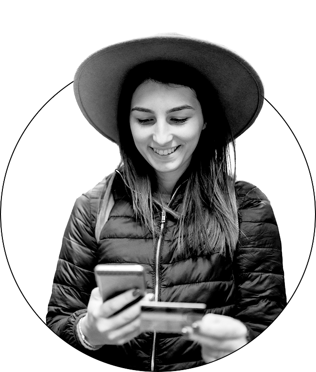 girl with phone and credit card