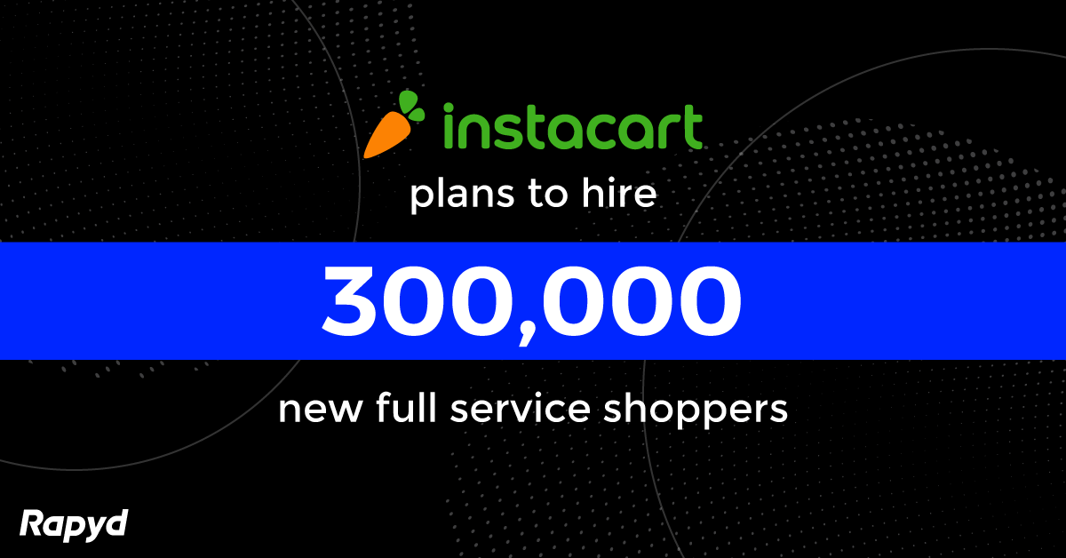 Graphic showing that Instacart plans to hire 300,000 full service shoppers