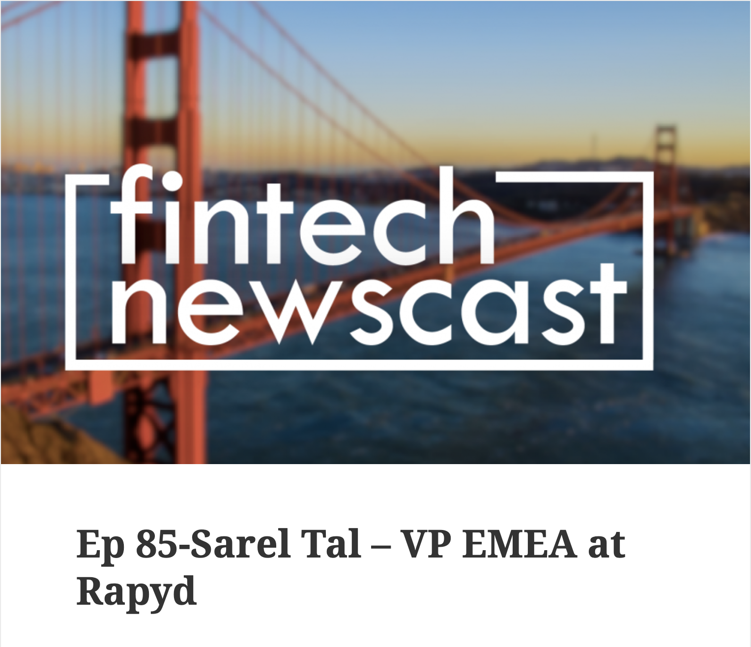 Sarel Tal Interviewed On Fintech Newscast