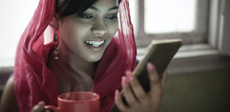 Woman using local payment methods in India to buy online