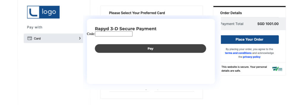 A screenshot of a 3DS Payment with Rapyd