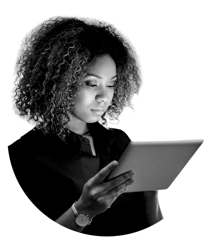 A woman banking on a tablet