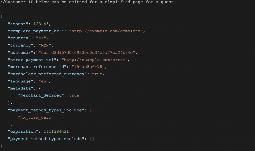 Code sample for creating a hosted checkout page