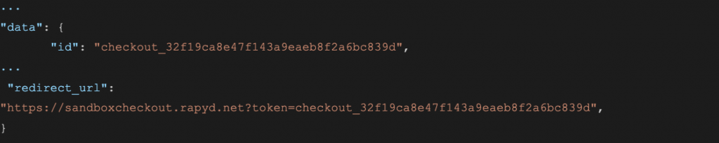 Code sample for creating checkout response body